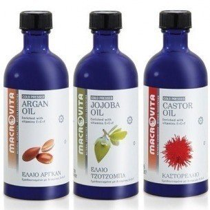MACROVITA SET: ARGAN Oil 100ml + JOJOBA Oil 100ml + CASTOR Oil 100ml in natural oils with vitamin E