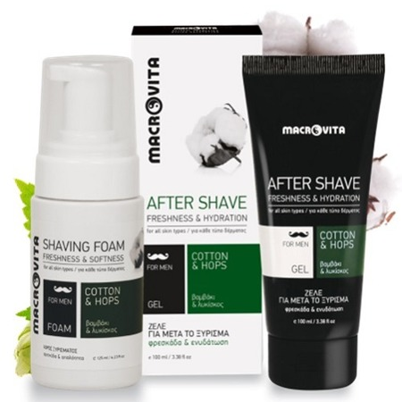 MACROVITA GIFT SET FOR MEN: natural shaving foam 125ml + natural after shave gel 100ml