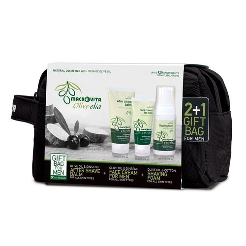 MACROVITA GIFT SET OLIVE-ELIA FOR MEN: After Shave Balm 100ml + Moisturizing Face Cream 50ml + FREE Shaving Foam 100ml + cosmetic bag
