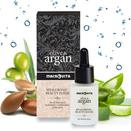 MACROVITA OLIVE & ARGAN GIFT SET: HYALURONIC BEAUTY ELIXIR with argan stem cells 15ml + HYALURONIC CREAM POLLUTION & AGE DEFENSE all skin types 50ml + FREE MULTI-EFFECTIVE DRY OIL Face-Body-Hair 75ml