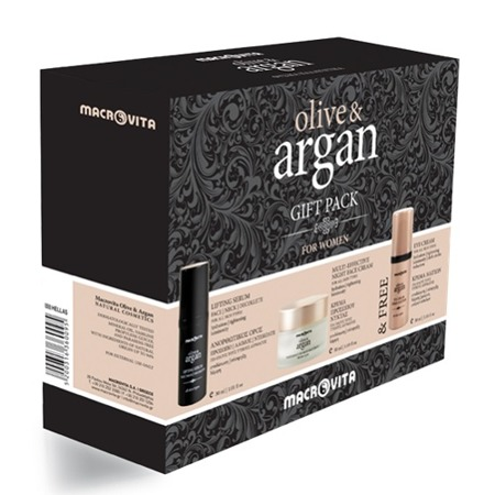 MACROVITA OLIVE & ARGAN GIFT SET: Night Cream all skin types 50ml + Lifting Serum for face, neck and décolleté 30ml + FREE Eye Cream 30ml