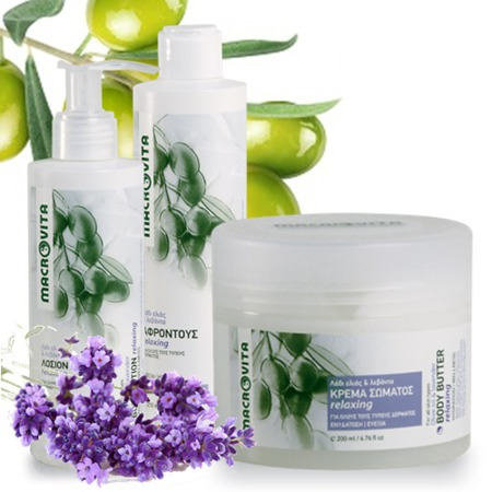 MACROVITA RELAXING SET WITH LAVENDER: body butter 200ml + body lotion 200ml + shower gel 250ml